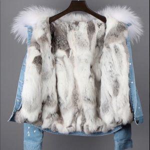 Fox and raccoon fur denim jacket